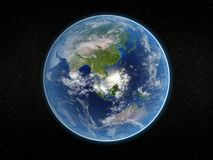 Photorealistic earth. Photorealistic 3D rendering of planet earth viewed from space (Asia and Australia Stock Photo