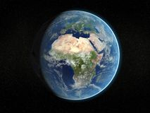 Photorealistic earth. Photorealistic 3D rendering of planet earth viewed from space (Africa and Europe - partial light Vector Illustration