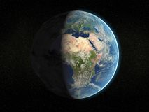 Photorealistic earth. Photorealistic 3D rendering of planet earth viewed from space (Africa and Europe - partial light Royalty Free Illustration
