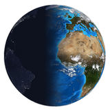 Photorealistic Earth. Day and night Royalty Free Stock Photos