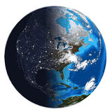 Photorealistic Earth. Day and night Stock Photography