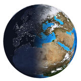 Photorealistic Earth. Day and night Stock Photos