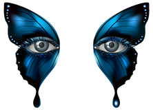 Photorealistic eye artistic butterfly makeup close up. Realistic female eye close up artistic makeup blue butterfly wings Stock Photography