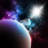 Photorealistic galaxbakgrund med planeten och Arkivbilder