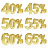Photorealistic golden rendering of a symbol for % discount Stock Photography