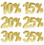 Photorealistic golden rendering of a symbol for % discounts Stock Images