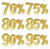 Photorealistic golden rendering of a symbol for %. Very high quality rendering of a symbol for % discounts with a subtle reflection Stock Image