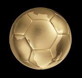 Photorealistic goldener Fußball mit Form von Afrika Stockfoto