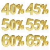 Photorealistic guld- tolkning av ett symbol för % rabatt Arkivbild