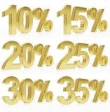 Photorealistic guld- tolkning av ett symbol för % rabatter Arkivbilder