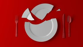 Photorealistic image of a broken white plate on red background. 3D illustration stock illustration
