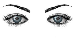 Photorealistic menselijke vrouwelijke ogen sluiten omhoog Stock Foto's