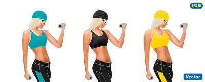 Photorealistic model of the sportswoman  on white background. Illustration Royalty Free Stock Image