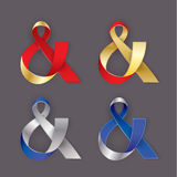 Photorealistic ribbon in the shape of Ampersand. Vector elements for card, invitation or web banner design Stock Image