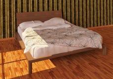 Photorealistic säng framför Arkivfoton