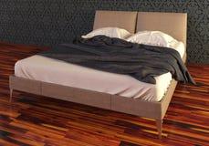 Photorealistic säng framför Arkivfoto