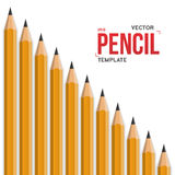 Photorealistic Vector Graphite Office Pencil Isolated Royalty Free Stock Photography
