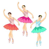 Photorealistic vector illustration of the Prima Ballerina in the Croise Pose. Three colorful ballerinas stand cross-legged on their fingers and lift one arm up Royalty Free Stock Photos
