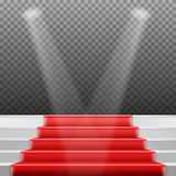 Photorealistic Vector Stairs Podium with Red Carpet and Bright L Royalty Free Stock Photos