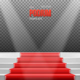 Photorealistic Vector Stairs Podium with Red Carpet and Bright L Stock Photo