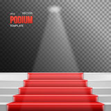 Photorealistic Vector Stairs Podium with Red Carpet  Royalty Free Stock Images