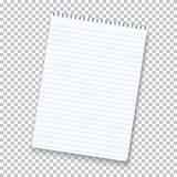 Photorealistic Vektor-Notizblock lokalisiert auf transparentem Hintergrund Lizenzfreie Stockfotografie