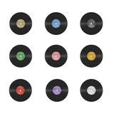 Photorealistic vinyl record multicolored labels Royalty Free Stock Image