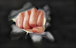 Photorealisticist till och med svartpapper Kulör illustration av en stansa hand Royaltyfria Bilder