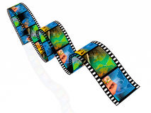 Photos. Film roll with color pictures (communication Stock Photo