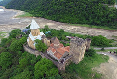 Photos from the air, Ananuri fortress on a background of a dried river Aragvi, shot quadrocopters Royalty Free Stock Images
