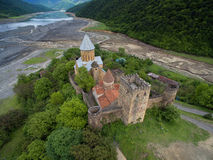 Photos from the air, Ananuri fortress on a background of  dried river Aragvi, shot quadrocopters DJI Stock Photos