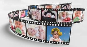 Photos of baby on retro film strip. 3D rendered illustration vector illustration