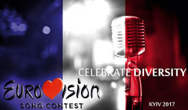 Photos banner with the official logo of the Eurovision Song Contest in the France flag, Eurovision 2017 in Kiev. Stock Image