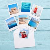 Photos of beautiful moments of happy summer holidays in Greece. On the light blue wooden background, copy space. Travel to magic Greece concept. Horizontal. Top stock photography