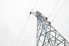 Photos from the bottom corner of the high voltage post or High voltage tower. royalty free stock photography