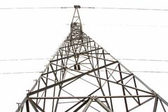 Photos from the bottom corner of the high voltage post or High voltage tower. stock image