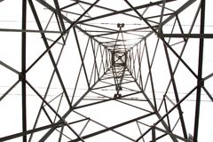 Photos from the bottom corner of the high voltage post or High voltage tower. stock photo