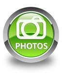 Photos (camera icon) glossy green round button Stock Photography
