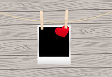 Photos on the clothespin. Vintage photos frame on the clothespin with hearts. Vector illustration Royalty Free Stock Photo