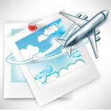 Photos with clouds; travelling by plane Royalty Free Stock Photos