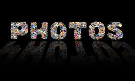 Photos Collage. An illustrated collage of photos in the shape of the word PHOTOS, isolated on black background royalty free illustration
