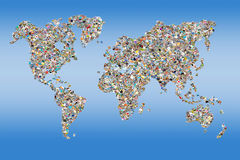 Photos collage in the shape of a world map. Blue background royalty free illustration