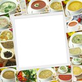 Photos collection of different types of soup. With copy space royalty free stock images