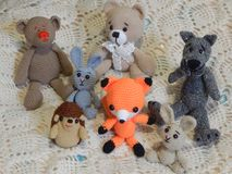 Soft knitted toys for children stock image