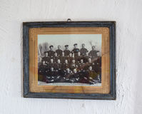 Photos of the Cossacks and Cossack family on the whitewashed wall. Ethnic and Cultural Museum. Stock Photo