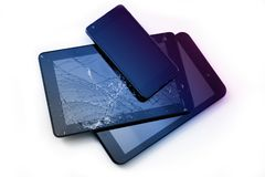 Photos of cracked display on a tablet and black cellphone isolated on white. Tablet with damaged screen.  royalty free stock image