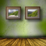 Photos of the Crimea in the old wooden frame Stock Images