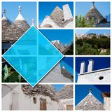 Photos de collage d'Alberobello - l'Italie, dans 1 : 1 format photographie stock