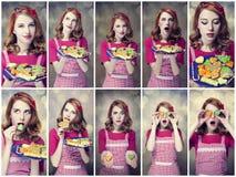 Photos de collage - femmes rousses avec des biscuits Photo stock