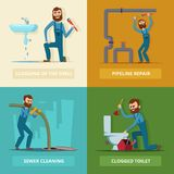 Photos de concept réglées du plombier au travail illustration de vecteur